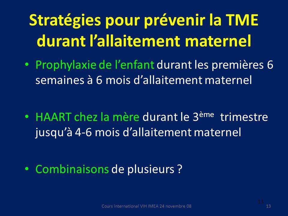 Cours international VIH IMEA 24 novembre 0813 Stratégies pour prévenir la TME durant lallaitement maternel Prophylaxie de lenfant durant les premières