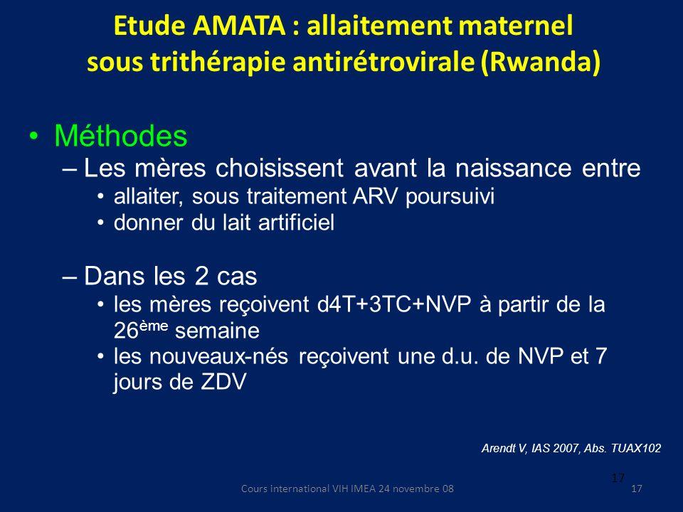 Cours international VIH IMEA 24 novembre 0817 Etude AMATA : allaitement maternel sous trithérapie antirétrovirale (Rwanda) Méthodes –Les mères choisis