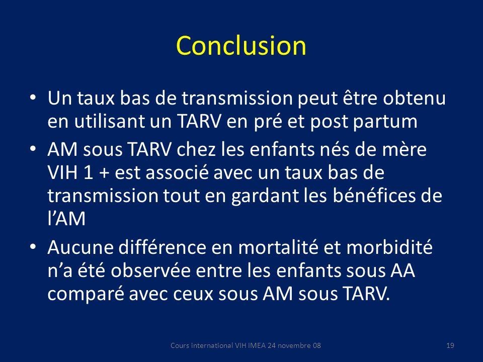 Conclusion Un taux bas de transmission peut être obtenu en utilisant un TARV en pré et post partum AM sous TARV chez les enfants nés de mère VIH 1 + e
