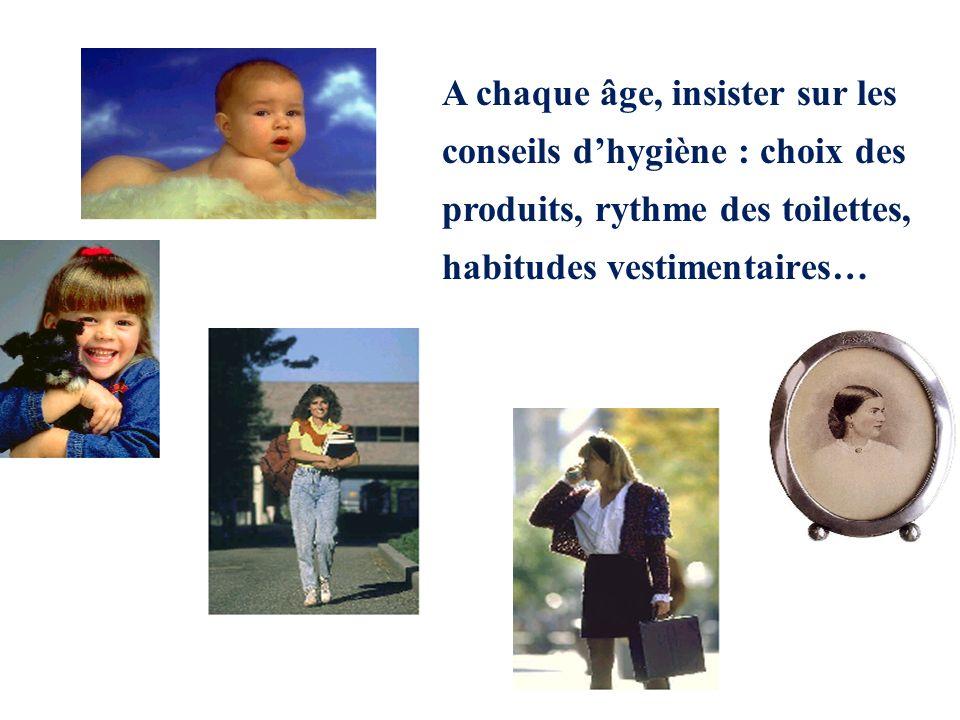 A chaque âge, insister sur les conseils dhygiène : choix des produits, rythme des toilettes, habitudes vestimentaires…