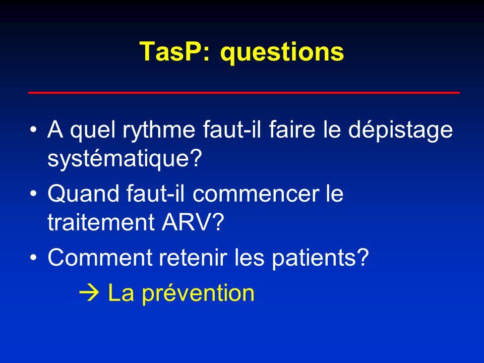 TasP: questions A quel rythme faut-il faire le dépistage systématique.