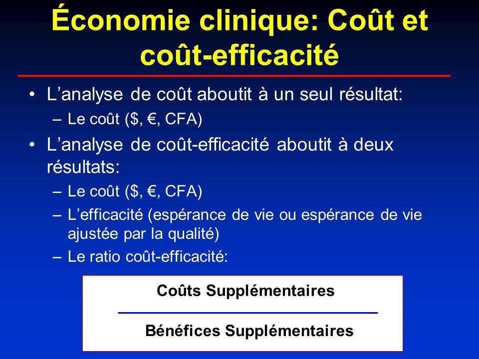 Les études coût-efficacité: quelques malentendus courants 1.