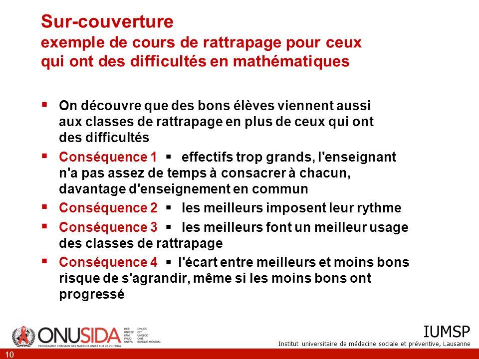 IUMSP Institut universitaire de médecine sociale et préventive, Lausanne 10 Sur-couverture exemple de cours de rattrapage pour ceux qui ont des diffic