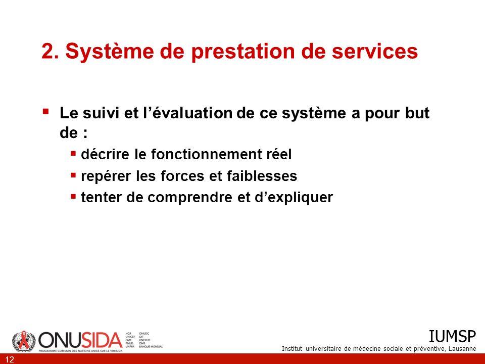 IUMSP Institut universitaire de médecine sociale et préventive, Lausanne 12 2. Système de prestation de services Le suivi et lévaluation de ce système
