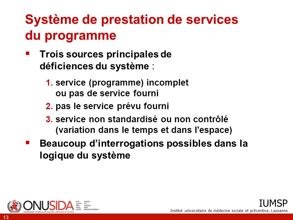 IUMSP Institut universitaire de médecine sociale et préventive, Lausanne 13 Système de prestation de services du programme Trois sources principales d