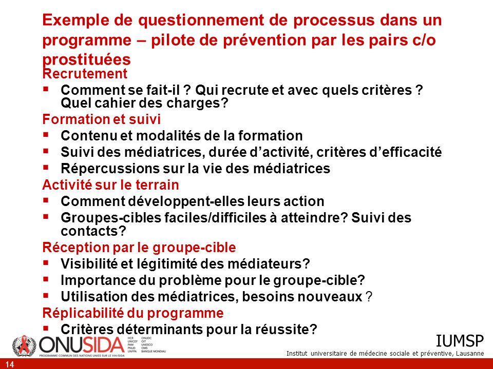 IUMSP Institut universitaire de médecine sociale et préventive, Lausanne 14 Exemple de questionnement de processus dans un programme – pilote de préve