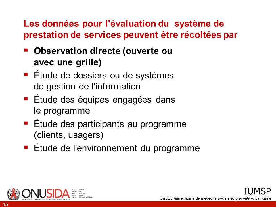 IUMSP Institut universitaire de médecine sociale et préventive, Lausanne 15 Les données pour l'évaluation du système de prestation de services peuvent