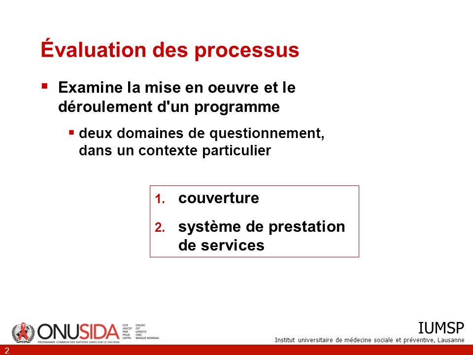 IUMSP Institut universitaire de médecine sociale et préventive, Lausanne 2 Évaluation des processus Examine la mise en oeuvre et le déroulement d'un p