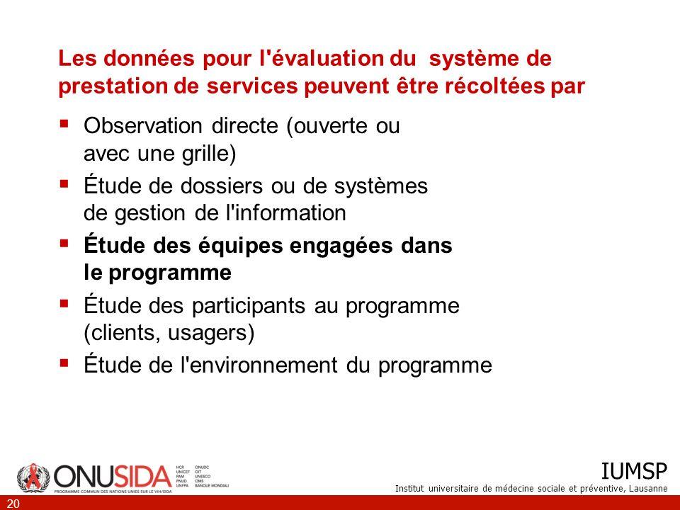 IUMSP Institut universitaire de médecine sociale et préventive, Lausanne 20 Les données pour l'évaluation du système de prestation de services peuvent