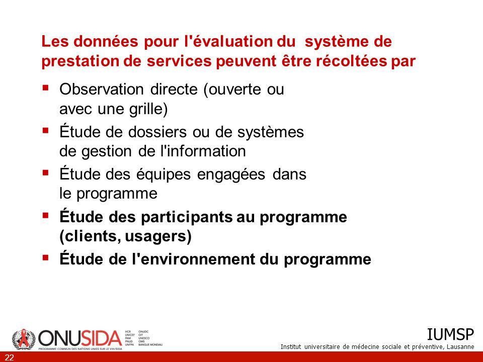 IUMSP Institut universitaire de médecine sociale et préventive, Lausanne 22 Les données pour l'évaluation du système de prestation de services peuvent