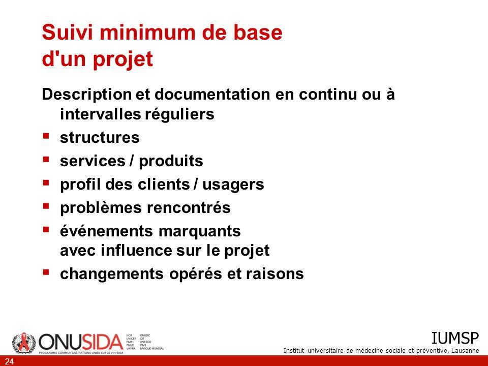 IUMSP Institut universitaire de médecine sociale et préventive, Lausanne 24 Suivi minimum de base d'un projet Description et documentation en continu