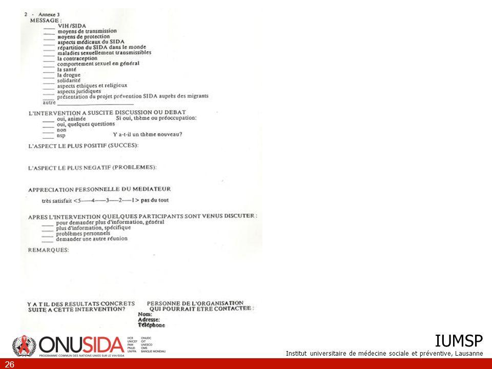 IUMSP Institut universitaire de médecine sociale et préventive, Lausanne 26