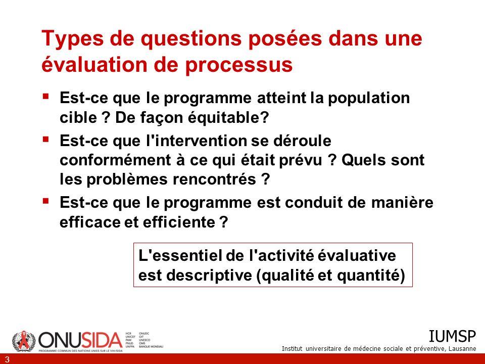 IUMSP Institut universitaire de médecine sociale et préventive, Lausanne 3 Types de questions posées dans une évaluation de processus Est-ce que le pr