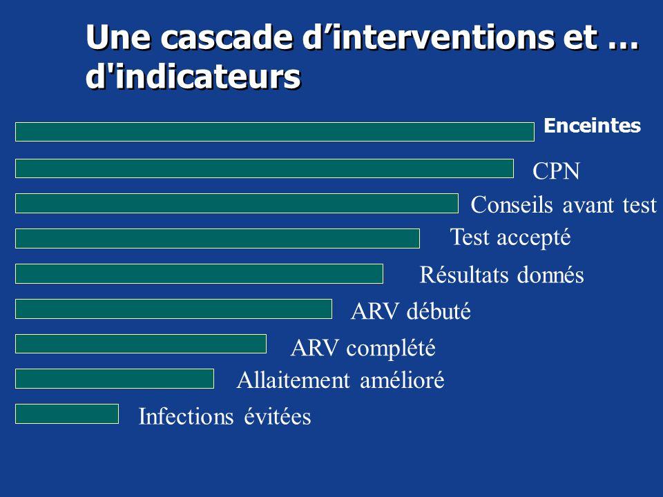 Une cascade dinterventions et … d'indicateurs Enceintes Conseils avant test Test accepté Résultats donnés ARV débuté ARV complété Allaitement amélioré