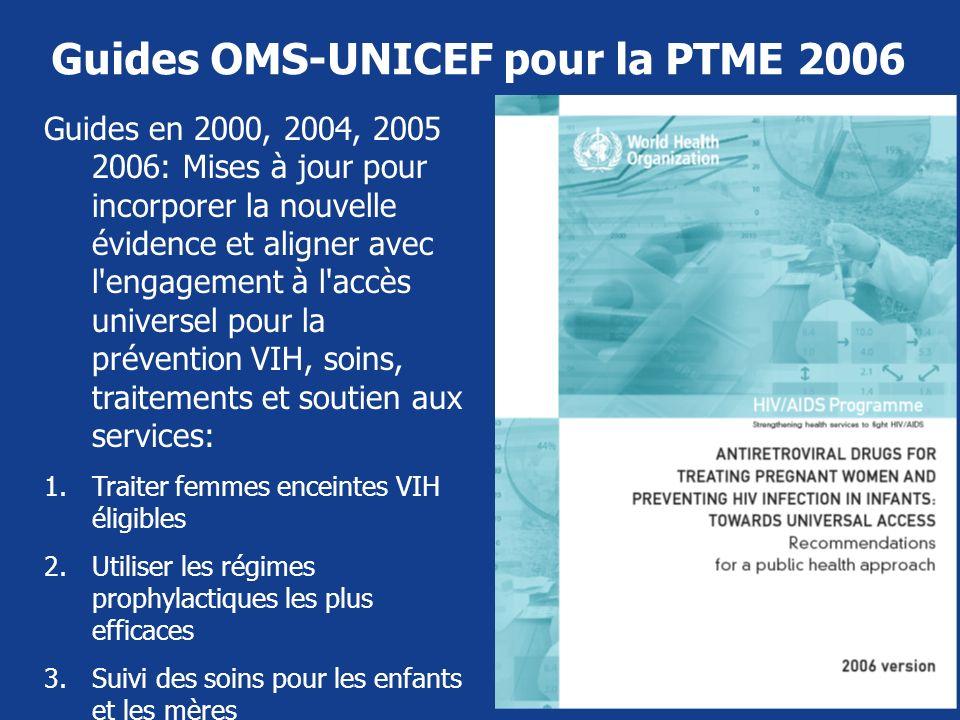 Guides OMS-UNICEF pour la PTME 2006 Guides en 2000, 2004, 2005 2006: Mises à jour pour incorporer la nouvelle évidence et aligner avec l'engagement à
