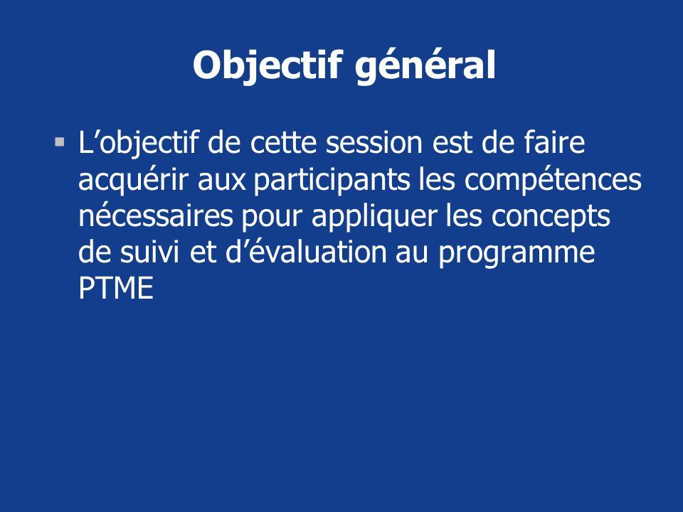 Objectif général Lobjectif de cette session est de faire acquérir aux participants les compétences nécessaires pour appliquer les concepts de suivi et