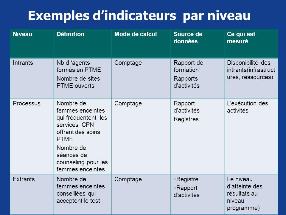 Exemples dindicateurs par niveau NiveauDéfinitionMode de calculSource de données Ce qui est mesuré IntrantsNb d agents formés en PTME Nombre de sites