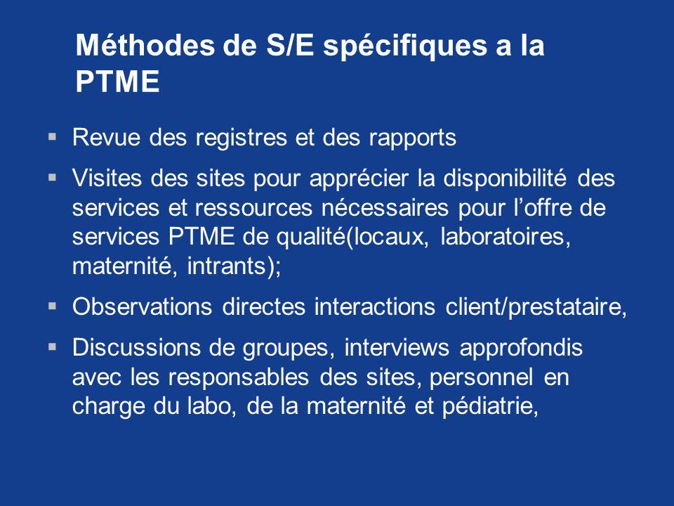 Méthodes de S/E spécifiques a la PTME Revue des registres et des rapports Visites des sites pour apprécier la disponibilité des services et ressources