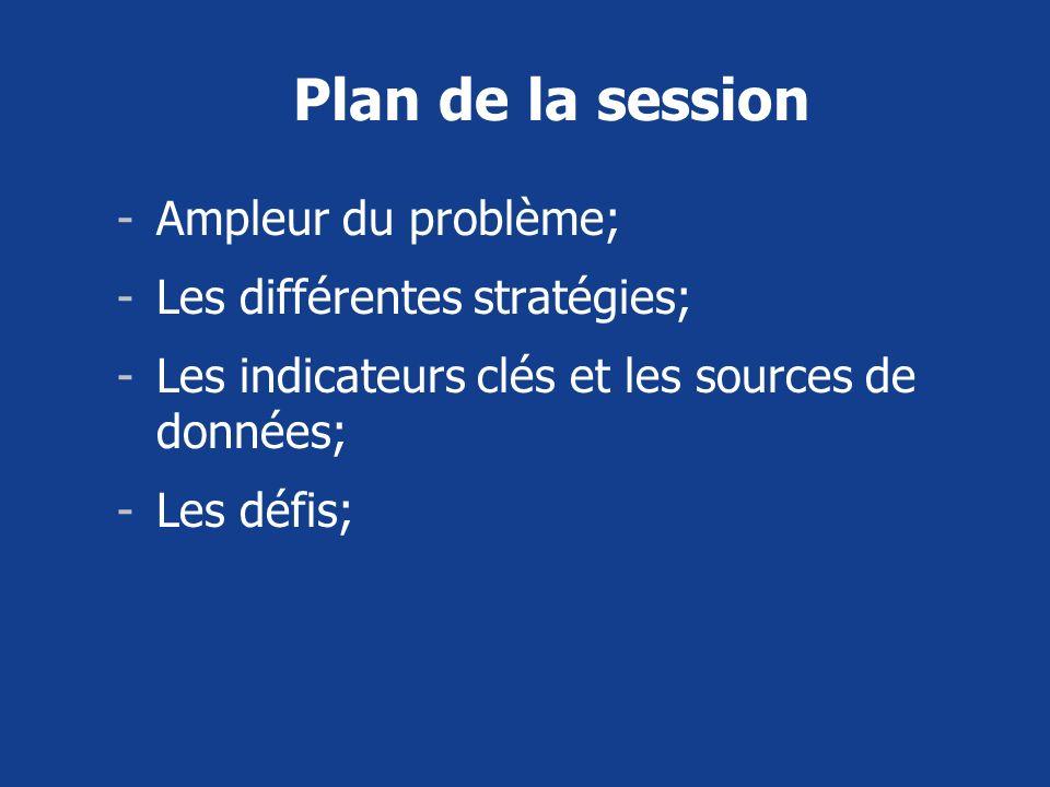 Plan de la session -Ampleur du problème; -Les différentes stratégies; -Les indicateurs clés et les sources de données; -Les défis;