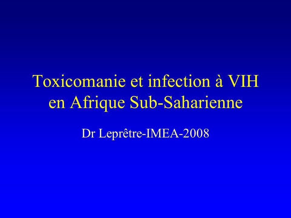 Dr Leprêtre-IMEA-2008 Usage de drogues par voie IV(3) Estimations Groupe de référence des Nations Unis sur le VIH et lusage de drogues injectables 2007 (Mathers, The Lancet, 24 septembre 2008) : Kenya : 30 264 à 231 231 UDIV Maurice : 17 000 à 18 000 UDIV Afrique du Sud : 262 975 UDIV Afrique Sub-saharienne :534 500 à 3 022 500!!!