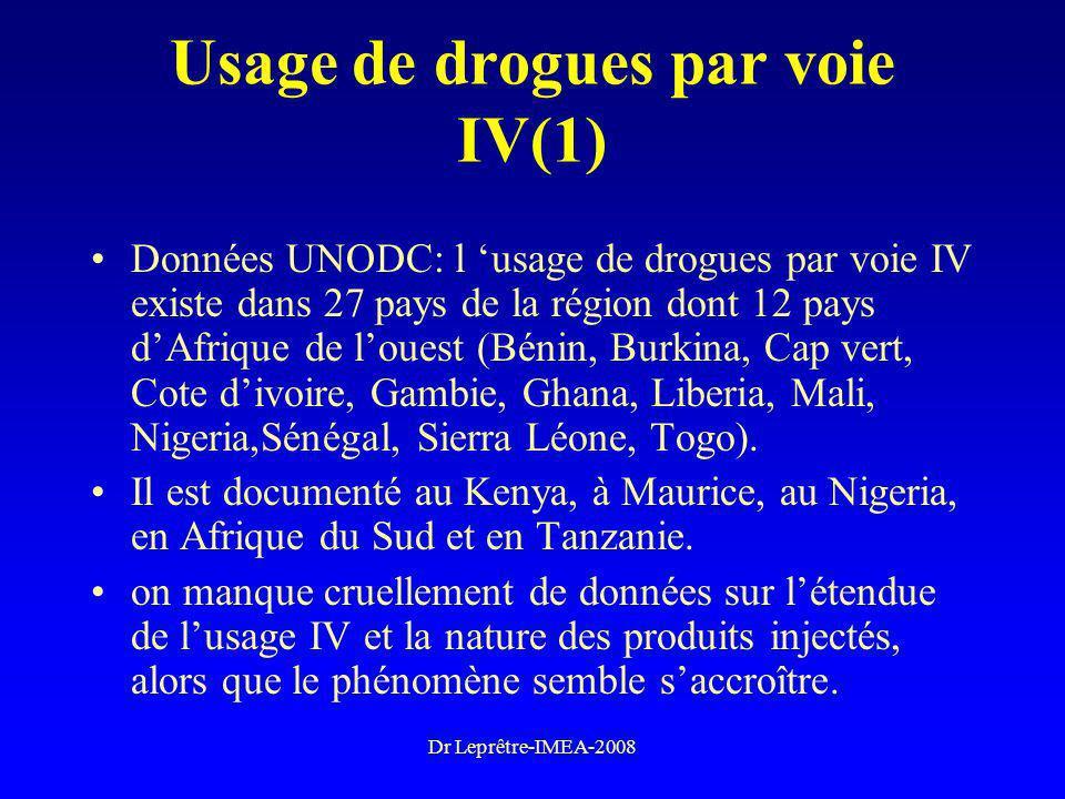 Dr Leprêtre-IMEA-2008 Usage de drogues par voie IV(1) Données UNODC: l usage de drogues par voie IV existe dans 27 pays de la région dont 12 pays dAfr