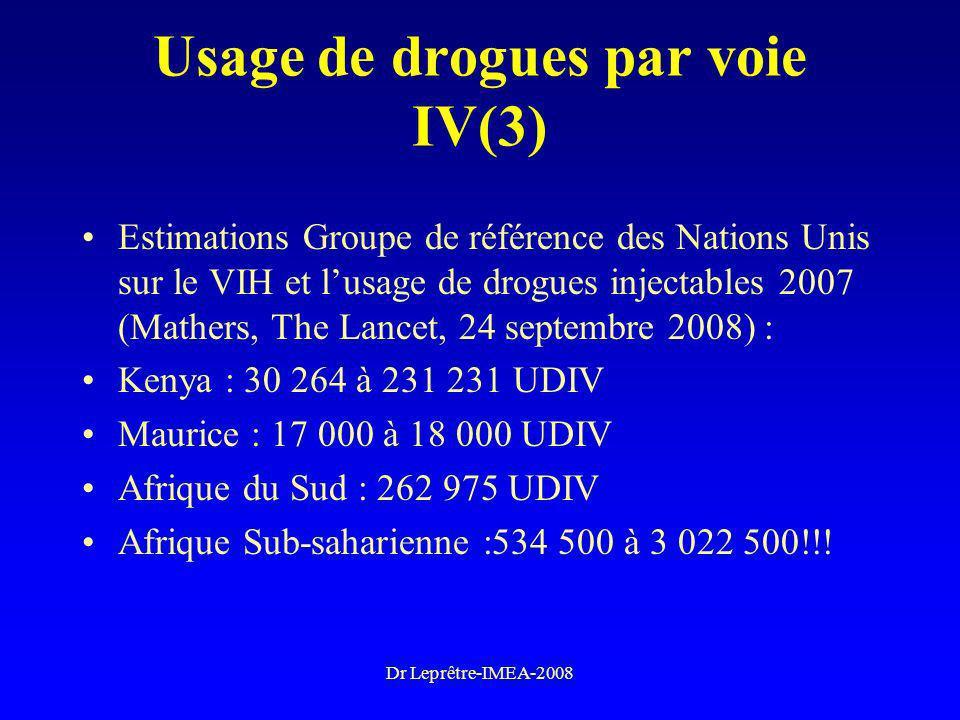 Dr Leprêtre-IMEA-2008 Usage de drogues par voie IV(3) Estimations Groupe de référence des Nations Unis sur le VIH et lusage de drogues injectables 200