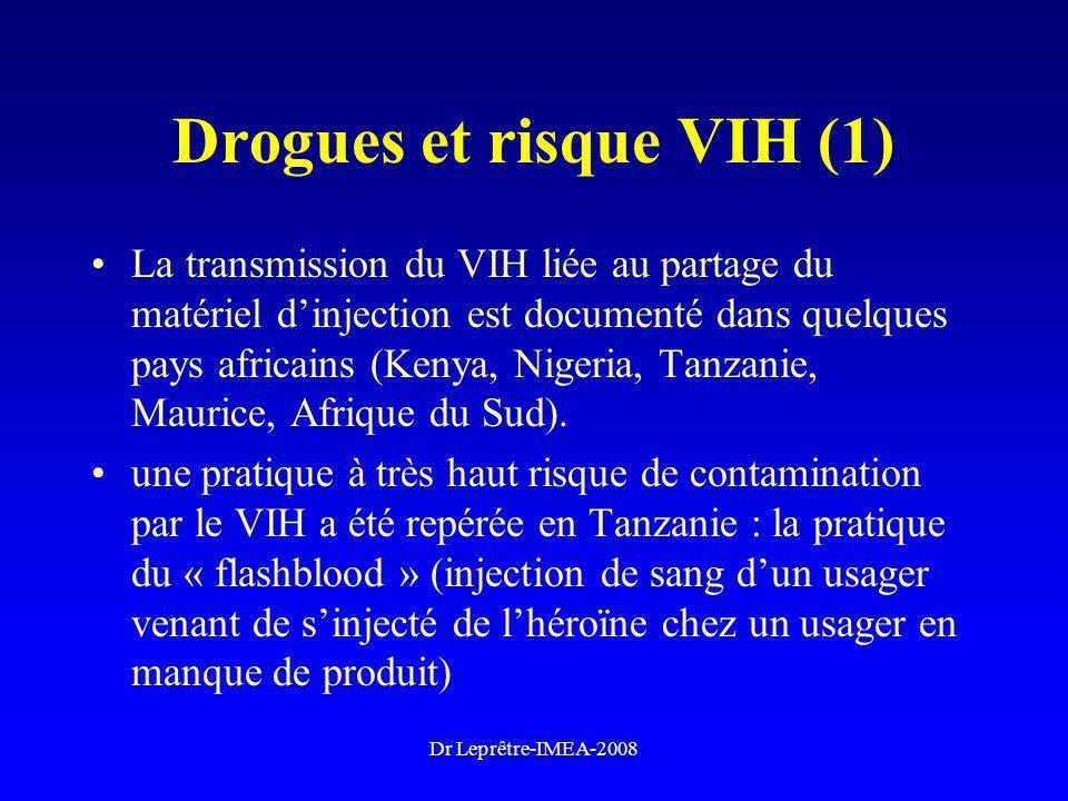 Dr Leprêtre-IMEA-2008 Drogues et risque VIH (1) La transmission du VIH liée au partage du matériel dinjection est documenté dans quelques pays africai