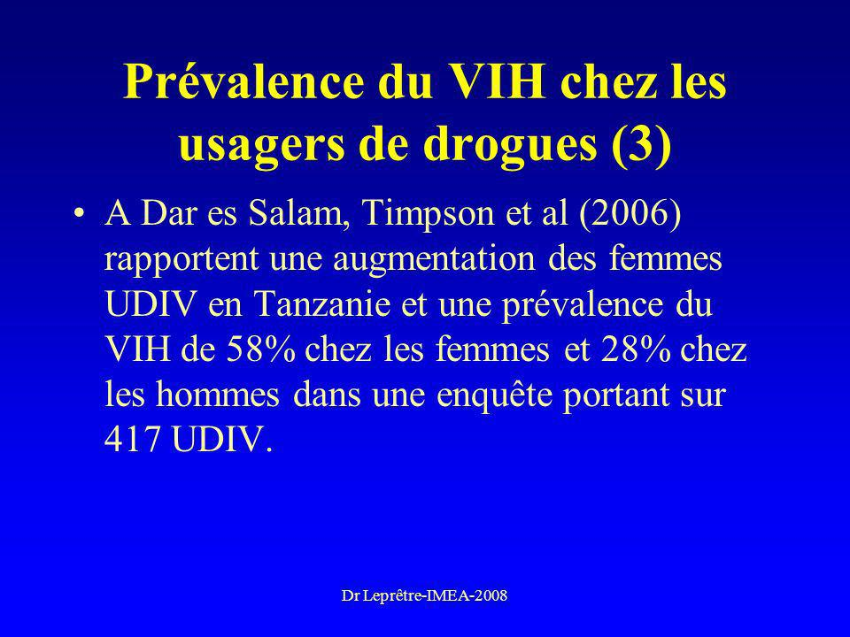Dr Leprêtre-IMEA-2008 Prévalence du VIH chez les usagers de drogues (3) A Dar es Salam, Timpson et al (2006) rapportent une augmentation des femmes UD