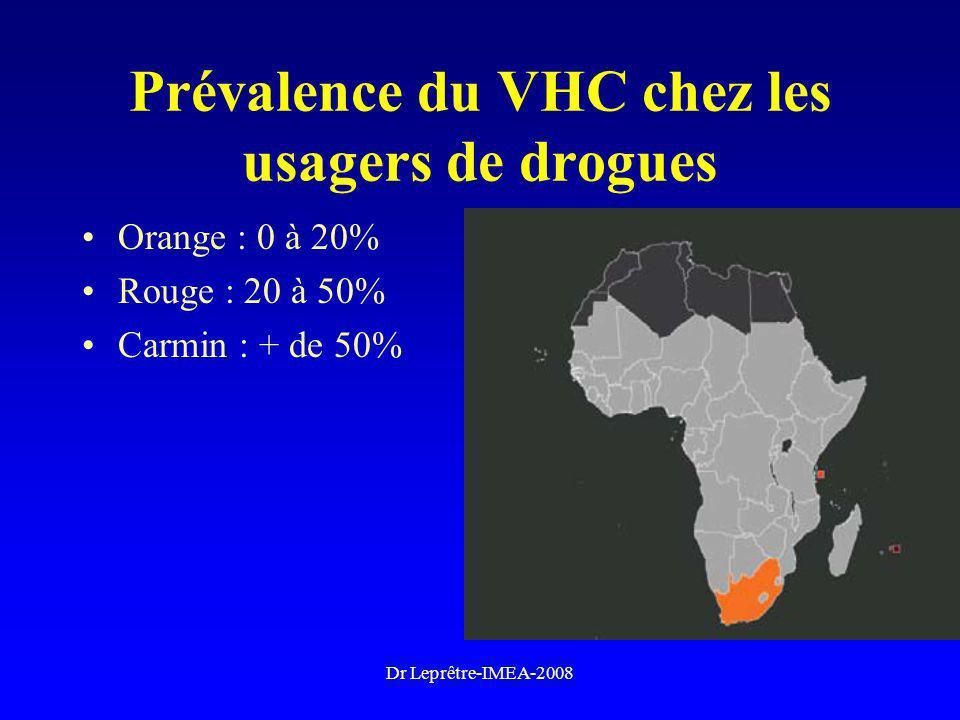 Dr Leprêtre-IMEA-2008 Prévalence du VHC chez les usagers de drogues Orange : 0 à 20% Rouge : 20 à 50% Carmin : + de 50%