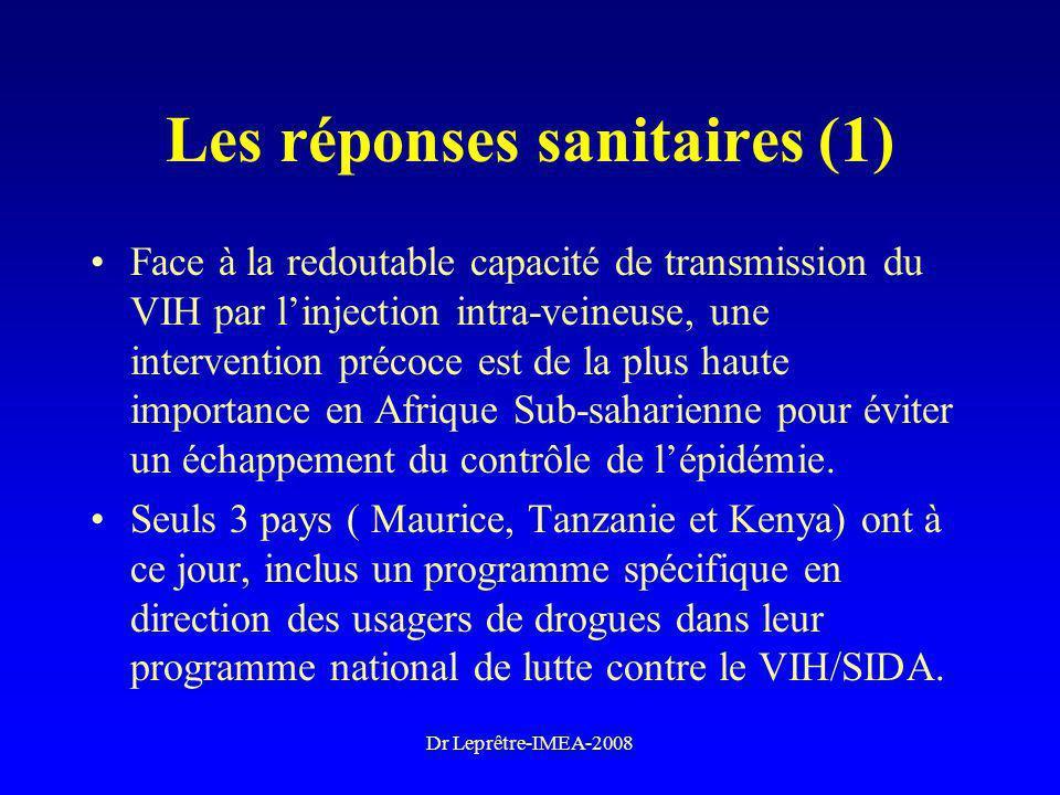 Dr Leprêtre-IMEA-2008 Les réponses sanitaires (1) Face à la redoutable capacité de transmission du VIH par linjection intra-veineuse, une intervention
