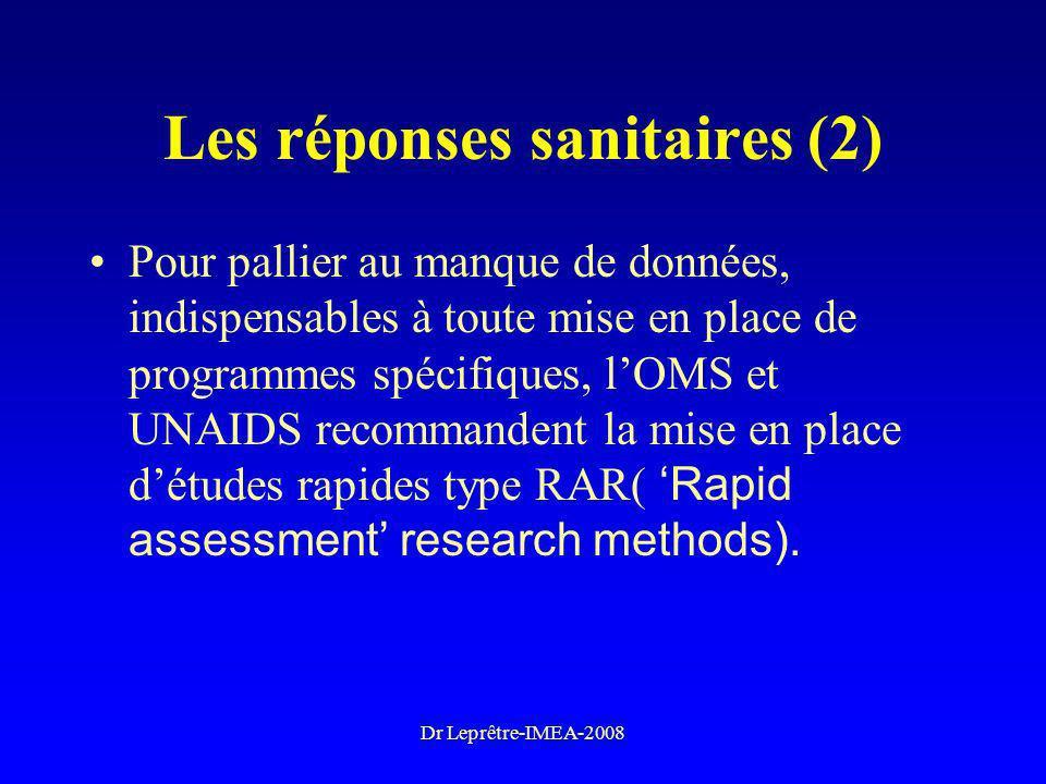 Dr Leprêtre-IMEA-2008 Les réponses sanitaires (2) Pour pallier au manque de données, indispensables à toute mise en place de programmes spécifiques, l