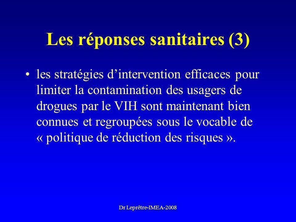 Dr Leprêtre-IMEA-2008 Les réponses sanitaires (3) les stratégies dintervention efficaces pour limiter la contamination des usagers de drogues par le V