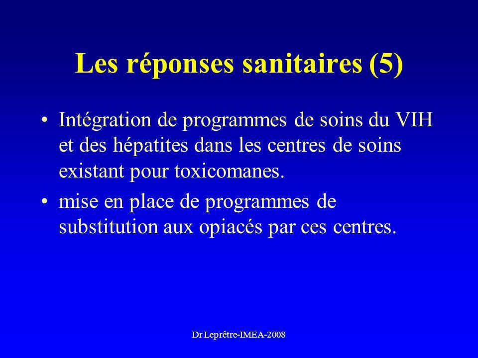 Dr Leprêtre-IMEA-2008 Les réponses sanitaires (5) Intégration de programmes de soins du VIH et des hépatites dans les centres de soins existant pour t
