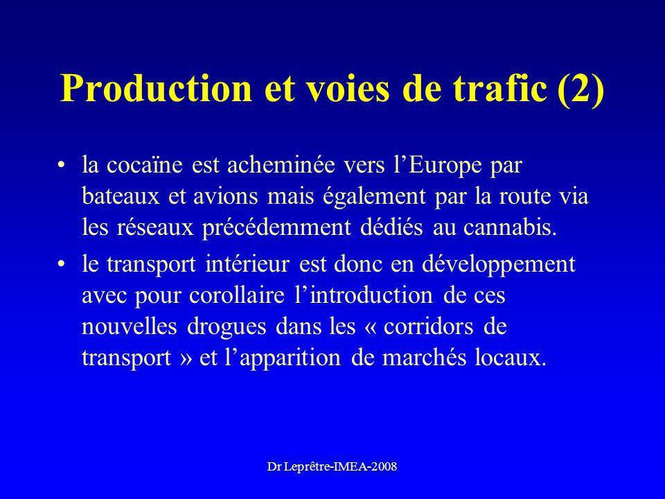Dr Leprêtre-IMEA-2008 Production et voies de trafic (2) la cocaïne est acheminée vers lEurope par bateaux et avions mais également par la route via le