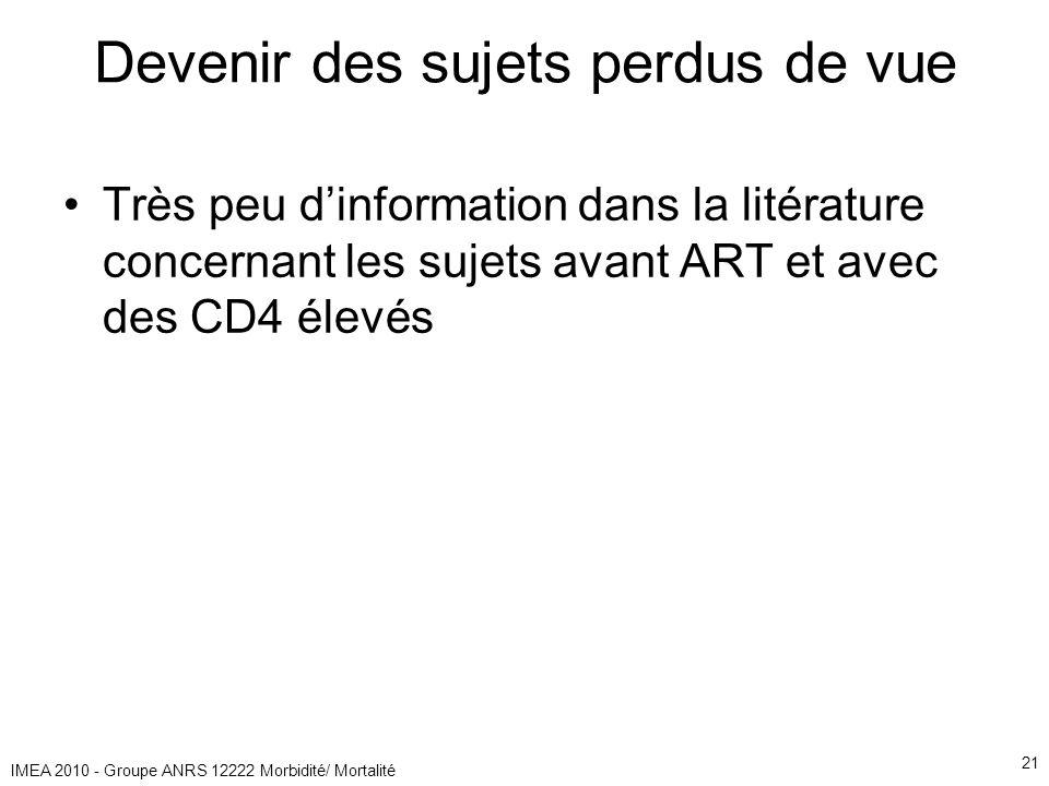 IMEA 2010 - Groupe ANRS 12222 Morbidité/ Mortalité 21 Devenir des sujets perdus de vue Très peu dinformation dans la litérature concernant les sujets avant ART et avec des CD4 élevés