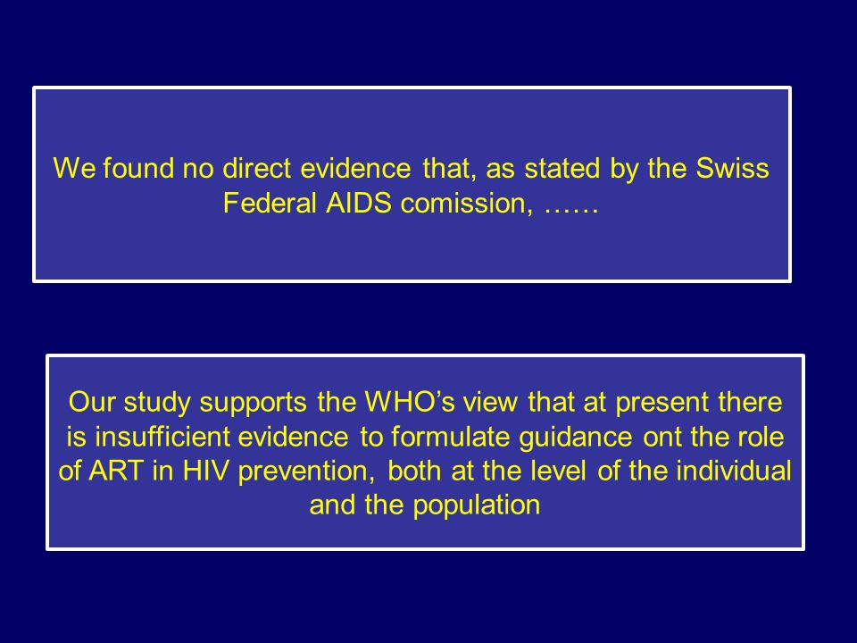 Our study supports the WHOs view that at present there is insufficient evidence to formulate guidance ont the role of ART in HIV prevention, both at t