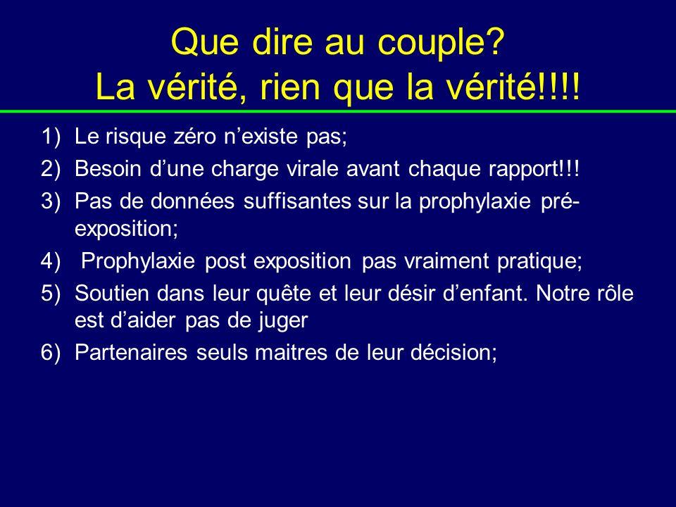 Que dire au couple? La vérité, rien que la vérité!!!! 1)Le risque zéro nexiste pas; 2)Besoin dune charge virale avant chaque rapport!!! 3)Pas de donné