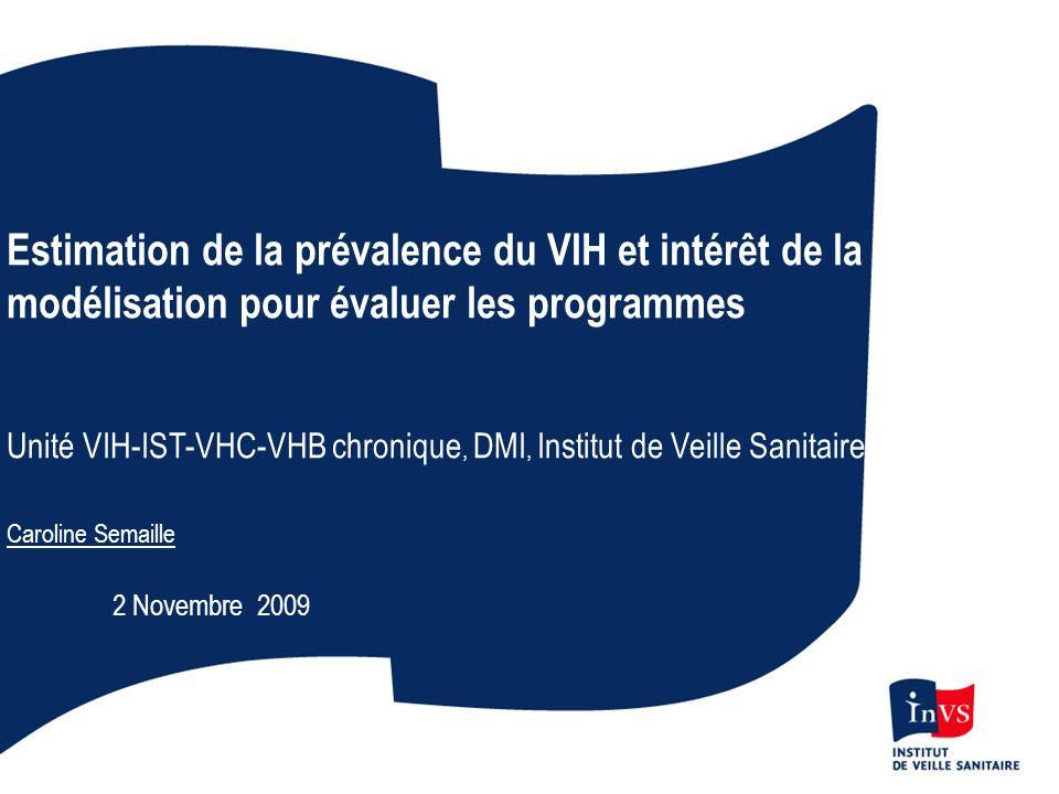 Estimation de la prévalence du VIH et intérêt de la modélisation pour évaluer les programmes Unité VIH-IST-VHC-VHB chronique, DMI, Institut de Veille