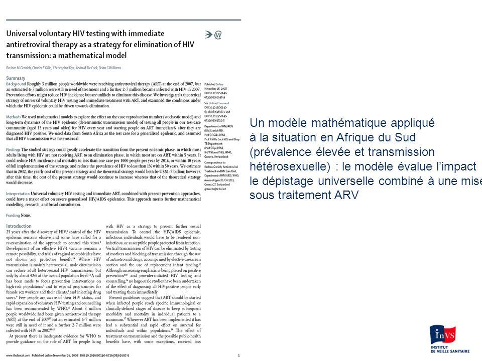 Un modèle mathématique appliqué à la situation en Afrique du Sud (prévalence élevée et transmission hétérosexuelle) : le modèle évalue limpact le dépi