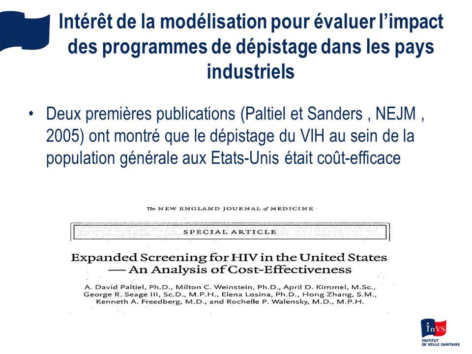 Intérêt de la modélisation pour évaluer limpact des programmes de dépistage dans les pays industriels Deux premières publications (Paltiel et Sanders,
