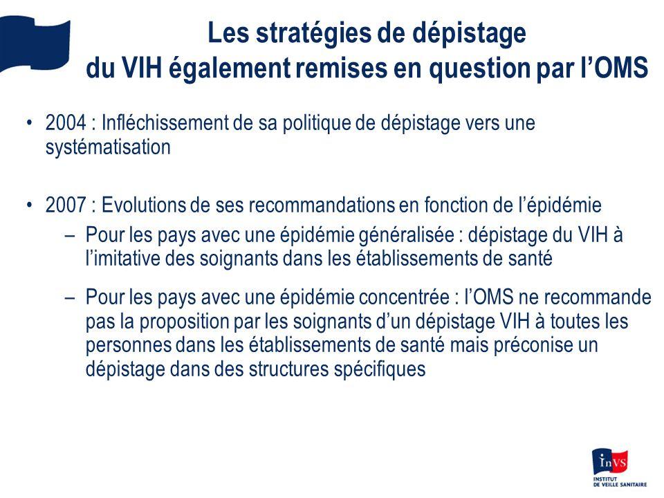 Les stratégies de dépistage du VIH également remises en question par lOMS 2004 : Infléchissement de sa politique de dépistage vers une systématisation