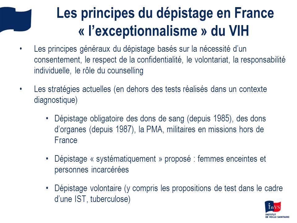 Les principes du dépistage en France « lexceptionnalisme » du VIH Les principes généraux du dépistage basés sur la nécessité dun consentement, le resp