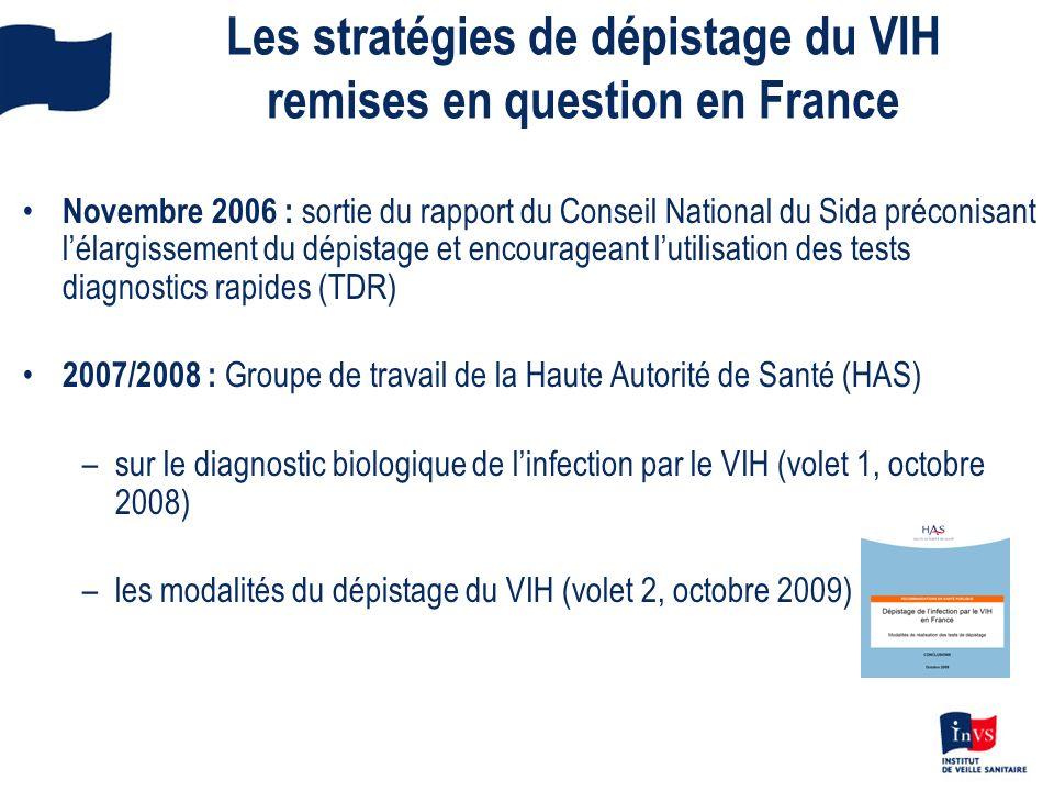 Les stratégies de dépistage du VIH remises en question en France Novembre 2006 : sortie du rapport du Conseil National du Sida préconisant lélargissem