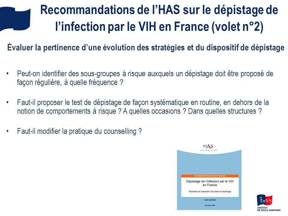 Recommandations de lHAS sur le dépistage de linfection par le VIH en France (volet n°2) Évaluer la pertinence dune évolution des stratégies et du disp