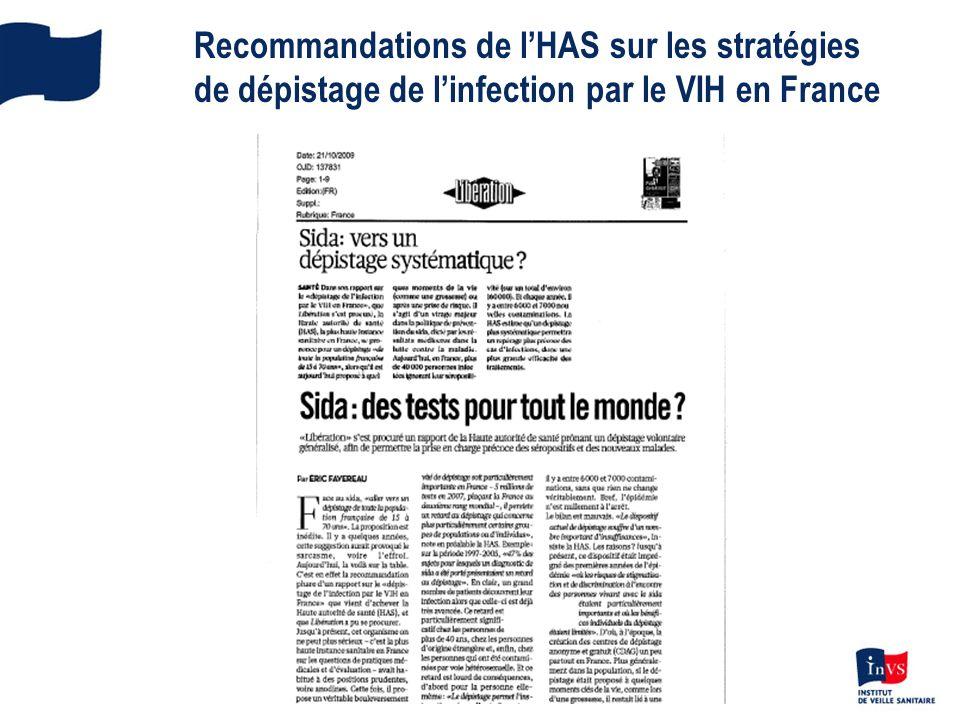 Recommandations de lHAS sur les stratégies de dépistage de linfection par le VIH en France