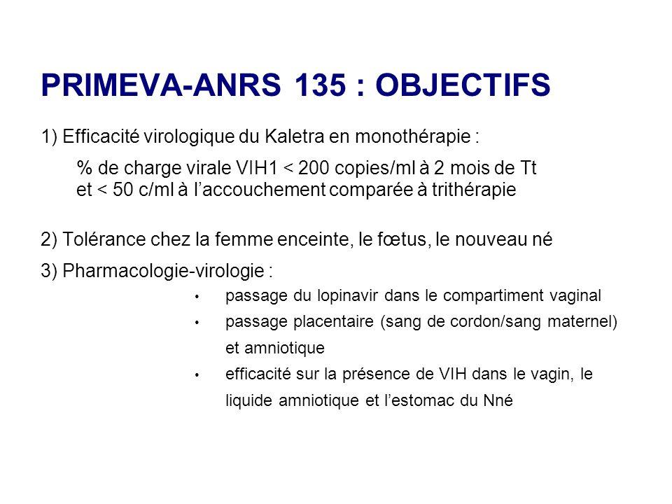 PRIMEVA-ANRS 135 : OBJECTIFS 1) Efficacité virologique du Kaletra en monothérapie : % de charge virale VIH1 < 200 copies/ml à 2 mois de Tt et < 50 c/m