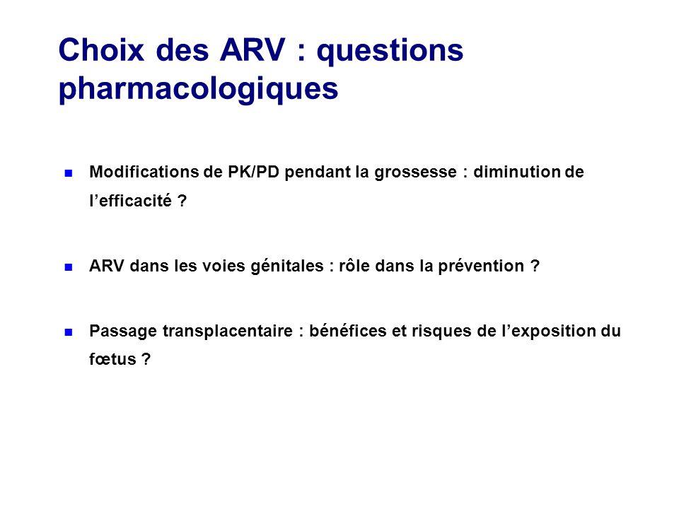 Choix des ARV : questions pharmacologiques Modifications de PK/PD pendant la grossesse : diminution de lefficacité ? ARV dans les voies génitales : rô