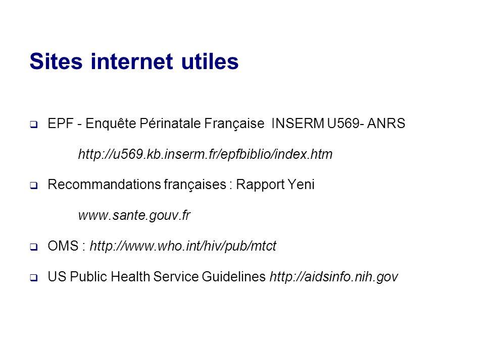 Sites internet utiles EPF - Enquête Périnatale Française INSERM U569- ANRS http://u569.kb.inserm.fr/epfbiblio/index.htm Recommandations françaises : Rapport Yeni www.sante.gouv.fr OMS : http://www.who.int/hiv/pub/mtct US Public Health Service Guidelines http://aidsinfo.nih.gov