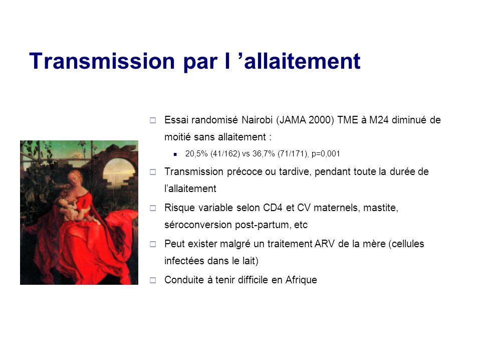 Transmission par l allaitement Essai randomisé Nairobi (JAMA 2000) TME à M24 diminué de moitié sans allaitement : 20,5% (41/162) vs 36,7% (71/171), p=0,001 Transmission précoce ou tardive, pendant toute la durée de lallaitement Risque variable selon CD4 et CV maternels, mastite, séroconversion post-partum, etc Peut exister malgré un traitement ARV de la mère (cellules infectées dans le lait) Conduite à tenir difficile en Afrique
