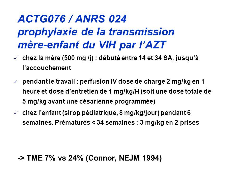 ACTG076 / ANRS 024 prophylaxie de la transmission mère-enfant du VIH par lAZT chez la mère (500 mg /j) : débuté entre 14 et 34 SA, jusquà laccouchement pendant le travail : perfusion IV dose de charge 2 mg/kg en 1 heure et dose dentretien de 1 mg/kg/H (soit une dose totale de 5 mg/kg avant une césarienne programmée) chez l enfant (sirop pédiatrique, 8 mg/kg/jour) pendant 6 semaines.